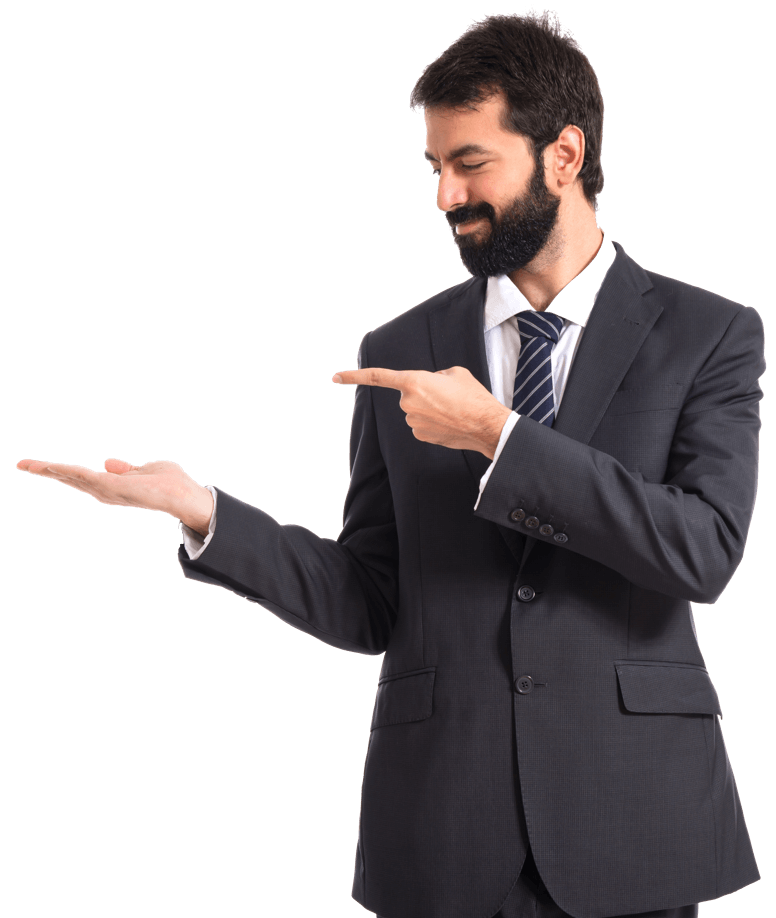 Businessman presenting something to his right